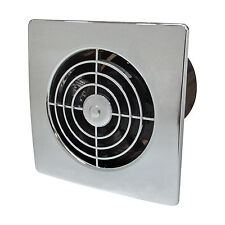 "4"" MANROSE CHROME BATHROOM TOILET TIMER EXTRACTOR FAN WALL LP100STC LO PROFILE"