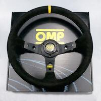 OMP 350MM BLACK SUEDE LEATHER CORSICA DEEP DISH STEERING WHEEL BLACK STITCH
