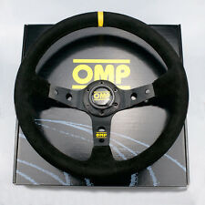 OMP 350MM BLACK SUEDE LEATHER CORSICA DEEP DISH STEERING WHEEL BLACK STITCH