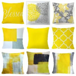 """20x20"""" Yellow Throw PILLOW COVER Double Sided Gray White Decorative Cushion Case"""