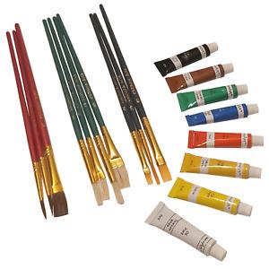 Oil Paint Kit Starter Set 8x 6ml Tubes & 10 Assorted Artist Brushes Art Painting