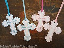10 White Gift Tags Religious Cross Christening Bomboniere Personalised Bombonier