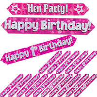 Ladies Pink Girls Holographic Age Foil Banners Birthday Party 9 Ft Long Banner