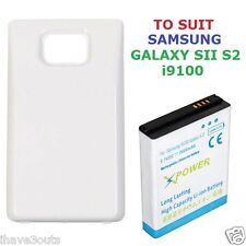 Samsung Galaxy S2 SII i9100 3600mAh Long Life Battery White Cover Case S 2 II