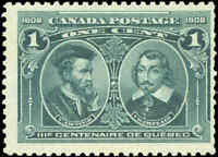 Mint NH Canada F Scott #97 1c 1908 Quebec Tercentenary Issue Stamp