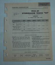 1955 61 STUDEBAKER TRUCK CARTER SPEC SHEET 2224S WCFB 4 BARREL SPECS PN'S