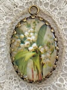LILY OF THE VALLEY Glass Dome SMALL Pendant NECKLACE Charm Catherine Klein Card