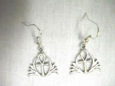 EGYPTIAN ANKH / ANHK TAU CROSS w LOTUS FLOWER PETALS CAST PEWTER CHARM EARRINGS