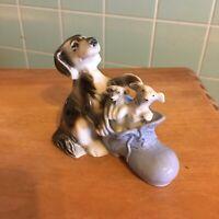 Vtg Dog shoe figurine Japan puppies Blue black white Collectible shiny glaze