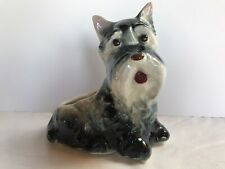New listing Vintage Cute Schnauzer Dog Ceramic Planter ~ Black, Gray & White