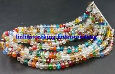 Beautiful! 3x4mm Multicolor Crystal Gemstone Faceted Beads 7 Row Bracelet 7.5''