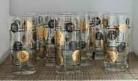 8 Vintage Libbey Partytime Mid Century Modern Coin Glass Tumblers Original Box