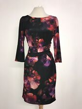 COAST - GORGEOUS BLACK & RED Floral DRESS - Size 12 Petite - WORN ONCE -STUNNING