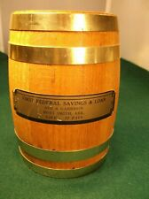 #1, VTG WOOD BARREL PROMOTIONAL COIN BANK, 1st FEDERAL SAVINGS & LOAN, Ft. SMITH