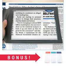Large Full Page Magnifying Sheet w/ 3 Bonus Bookmark Magnifiers for Reading