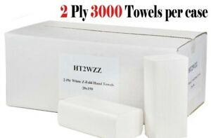 3000 White Paper soft Hand Towels 2ply Z Fold MultiFold TOP QUALITY