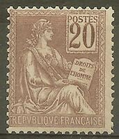 "FRANCE STAMP TIMBRE YVERT N° 113 "" TYPE MOUCHON 20c BRUN-LILAS "" NEUF xx TB B359"