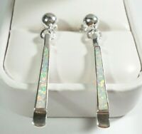 "SIGNED 925 STERLING SILVER SLENDER ELEGANT SYNTHETIC OPAL 1 5/8"" POST EARRINGS"