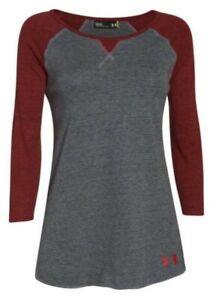 Under Armour Women's Stadium 3/4 Sleeve Tee Top Shirt Shape Hem Color Choice
