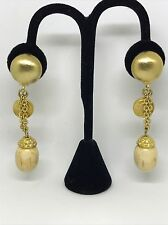 VINTAGE VALENTINO SIGNED GOLD COIN CHAIN HAUTE COUTURE CLIP EARRINGS