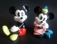 "Vintage Mickey Mouse & Minnie Figurine 3.5"" Figures Japan Walt Disney Production"