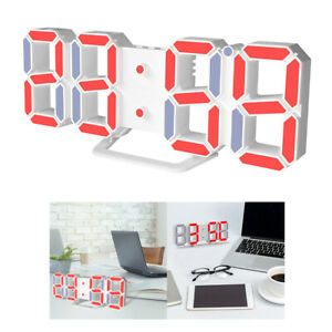 Digital 3D USB Charge LED Wall Clock Snooze 12/24Hours Alarm Multi Color