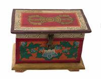 Scatola Cofanetto Tibetano Buddista Varja Lotus Artigianato Nepal 20cm 5736