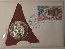 1972 France Ten Francs Fine Silver Yellow Toned UNC Coin in Cover with Stamp