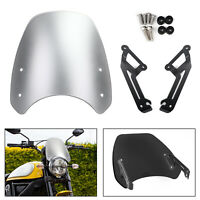 Windshield Windscreen Wind Defector protection For 15-18 Ducati Scrambler Silver
