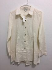 NWT Simply Noelle Womens Linen Blend Tunic Blouse Cream Size Small S