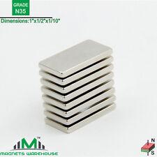 """8-count neodymium N35 NdFeb block magnets 1x 1/2 x 1/10"""""""