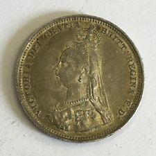 Antique Victoria Victorian Silver 1887 One Shilling Coin