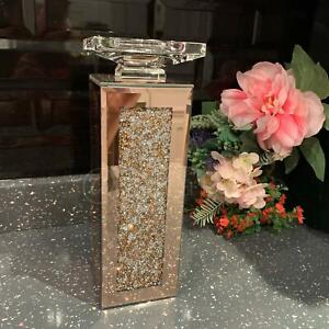 Jewel Diamante Mirror Candle Holder Rose Gold Tall Pillar Candle Holder Stand