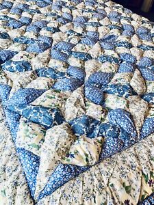 Pair Twin Comforters Blue Patchwork Floral Ruffled Edge Country Prairie Cottage
