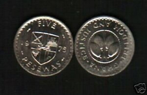 GHANA 5 PESEWAS KM-15 1975 DEER LION ARMS COCOA BEANS AFRICA CURRENCY MONEY COIN