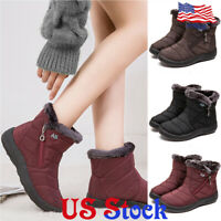 Women's Outdoor Fur Lind Round Toe Ankle Boots Snow Winter Zip Up Mid Heel Shoes