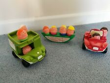 EClassic weeble toys. Two vehicles and seesaw included with several weebles