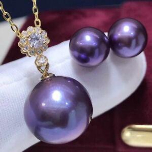 Certified Natural Purple Pearl 18K Gold Inlay Pendant Earrings Set Women Gift