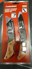 Husky 2-Pack Folding Lock Back Wood Handle Knife Set new with free shipping