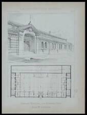 PARIS, GYMNASE HUYGENS - 1895 - PLANCHE ARCHITECTURE - EMILE AUBURTIN