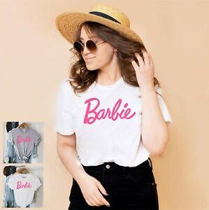 Barbie slogan t-shirt sports grey. adult ladies casual fashion. cute pretty top