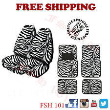 Brand New Zebra White Print Front High Back Seat Covers Wheel Cover Floor Mats
