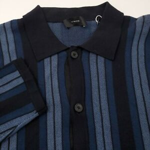 $295 Vince Mens Collared Button Up Sweater Size Medium Striped Blue & Black NEW