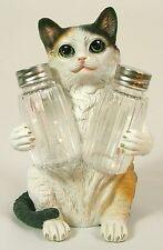 TRICOLOR CAT SALT & PEPPER SHAKER HOLDER Polyresin Kitten NEW Dining Kitchen LE