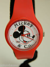 MICKEY MOUSE   LADIES /GIRLS WATCH /RED CASE  / NEW BATTERY/RED BAND