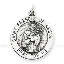 Medium Sterling Silver 925 St St. Saint Francis of Assisi Animal Charm Pendant