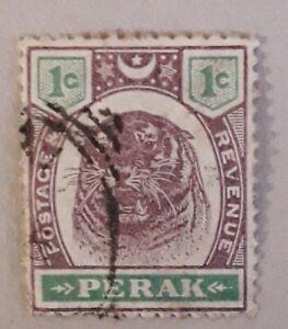 PERAK MALAYA 1895 1c error to 'c' in left value box, print on reverse see scan