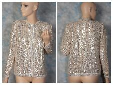 Vintage 80's white gold embellished sequin cocktail dress jacket trophy Blazer M