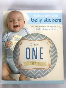 Baby's First Year Belly Stickers 1-12 months plus 8 Milestones C.R. Gibson