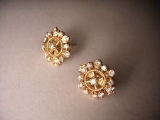 Gorgeous Estate 22K 24K Yellow Gold Snowflake Diamond Stud Earrings Studs